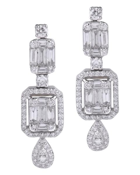 گوشواره الماس گرد و باگت