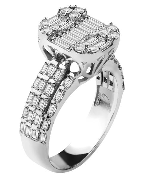 انگشتر الماس تراش باگت